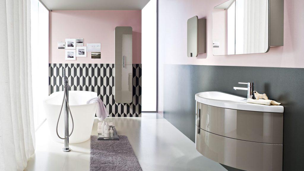 ideas de lavabos y armarios de baño Moon Muebles De Bao Con Lavabo Curvo De Cermica Ideagroup