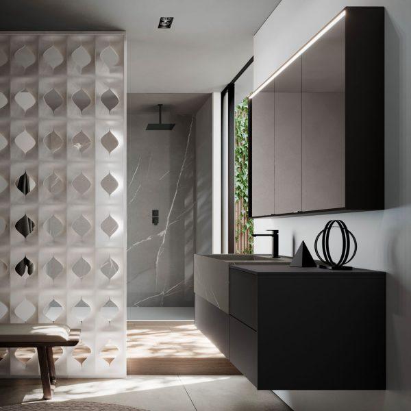 Armario con espejo de aluminio con iluminación integrada